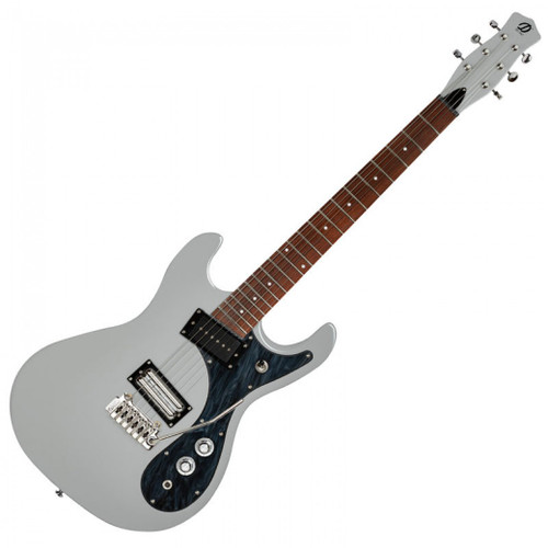 <p><span>The Danelectro&reg; &lsquo;64XT&trade; electric guitar (already proving to be yet another line of &lsquo;Dano best sellers&rsquo;) is available in a stunning Ice Gray finish.</span><br /><br /><span>This stunning new &lsquo;all-over&rsquo; finish on the ultra cool vintage shaped Danelectro chambered body also includes the neck and classic Dano Coke bottle headstock, and more than highlights the &lsquo;64XT&rsquo;s modern and authentic adaptation of that classic, off-set, reversed double cutaway body shape from the 1950&rsquo;s. This striking color is also offset with a cool Black Marble pickguard.</span><br /><br /><span>Without doubt, with classic Dano retro styling, the &lsquo;64XT is pretty to look at, but aesthetics aside, the heart of every instrument is its tone. It&rsquo;s here that this exceptionally cool guitar excels, with the unmistakable sparkly clean jangle of the single coil lipstick pickups that work for a host of styles, from surf to country, rockabilly to blues, to rock.</span><br /><br /><span>Hardware and electrics for this highly respected guitar include master volume and master tone controls, 3-way selector switch and large single coil pickup angled at the neck, delivering a warm sweet tone that&rsquo;ll please the most hardened jazz player.</span><br /><br /><span>Back in the bridge position, a dual humbucking lipstick pickup is installed at the opposite angle, with coil tapping facilities via the master tone control, offering the classic Danelectro tone at humbucker or single coil outputs. Straight string-pull from smooth geared machine heads to a fully adjustable Wilkinson vibrato, via a precision cut graphite nut, allows the &lsquo;64XT to return to zero pitch every time, whilst ensuring accurate and stable tuning.</span><br /><br /><span>Needless to say, the sonic versatility of this stunning electric guitar in this spectacular Ice Gray finish is immense, and playability to match with a great string action, sleek neck and fingerboa
