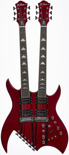 <p>If you&rsquo;re looking to conquer miles and miles of new sonic terrain, the 2019 Pearl White or Trans Red B.C. Rich Double Neck Rich B Legacy delivers with maximum style and impact. Its bloodline can traced to the late &rsquo;70s, early &rsquo;80s era B.C. Rich Classic lineup, but make no mistake: this guitar is all business. Its form, function and tone-shaping abilities scream &ldquo;sophistication.&rdquo;</p> <p>Its dual neck-through mahogany body design provides lightning-fast access to the highest frets on its 24-fret two-octave necks, and comes standard with two sets of Duncan Designed HB-103 pickups. The upper neck is a&nbsp; twelve-string guitar with a simple volume, volume, tone and 3-way pickup selector. It also features a fully adjustable B.C. Rich Quad bridge and rear-mounted tuners below the bridge. The lower neck of the Bich is strung as a traditional six-string. The six-string&rsquo;s harmonious sounds can be further sculpted with its 5-position varitone filter knob, two coil tap switches and reverse phase switch, providing guitarists with hundreds of new tones to be explored.</p> <p>BODY SHAPE: Rich B Double Neck</p> <p><span>CONSTRUCTION: No heel Neck-Thru body</span><br /><span>BODY WOOD: Mahogany &ldquo;Nyatah Palaquium</span><br /><span>TOP WOOD: Mahogany &ldquo;Nyatah Palaquium&rdquo;</span><br /><span>SIDES: Beveled</span><br /><span>NECK SHAPE: Shredzilla Ultra Slim Countour For Speed</span><br /><span>NECK WOOD: Mahogany &ldquo;Nyatah Palaquium&rdquo;</span><br /><span>SCALE: 24 5/8&rdquo;</span><br /><span>TRUSS ROD: Dual Adjust</span><br /><span>HEADSTOCK: B.C. Rich 3 to a side Original</span><br /><span>FRETBOARD MATERIAL: Indian Ebony fretboard</span><br /><span>RADIUS: 12&rdquo;</span><br /><span>FRET SIZE: Super Jumbo</span><br /><span>NUMBER OF FRETS: 24</span><br /><span>INLAYS: MOP Clouds</span><br /><span>NUT: Synthetic Bone</span><br /><span>NUT WIDTH: 1 11/16&rdquo;</span><br /><span>BRIDGE: BCR Quad and BCR Quad 12</span><br /