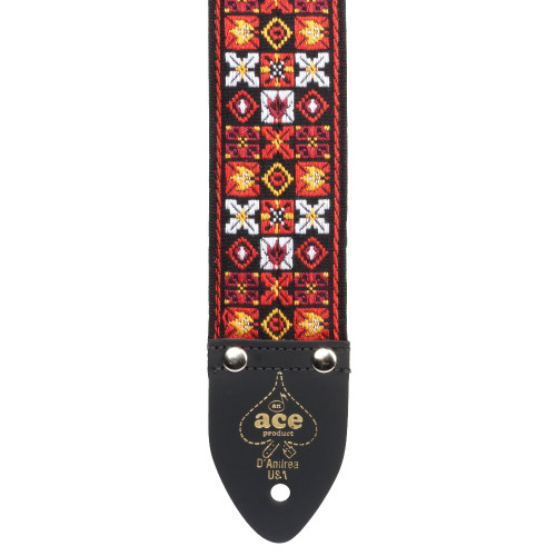 "During the Rock-and-Roll glory days of the '60's and '70s, Ace Guitar Straps were worn by many iconic artists of the time including Jimi Hendrix, Bob Dylan, John Lennon, Eric Clapton and Elvis Presley. The design team at D'Andrea USA has gone to great lengths to replicate the Ace Strap designs seen in many historical photographs of the period. ""Let Your Freak Flag Fly"" and hang your favourite guitar around your shoulder with an Ace Vintage Reissue Strap by D'Andrea USA. This vintage line of straps is based on the legends that wore them back in the 60's and 70's, each strap is 2.0"" wide, equipped with leather ends and a comfortable stitched vinyl layer on the inside of the strap. Unlike many straps made today, these straps feature a metal adjustment buckle. These straps truly bring back the classic vibe!"