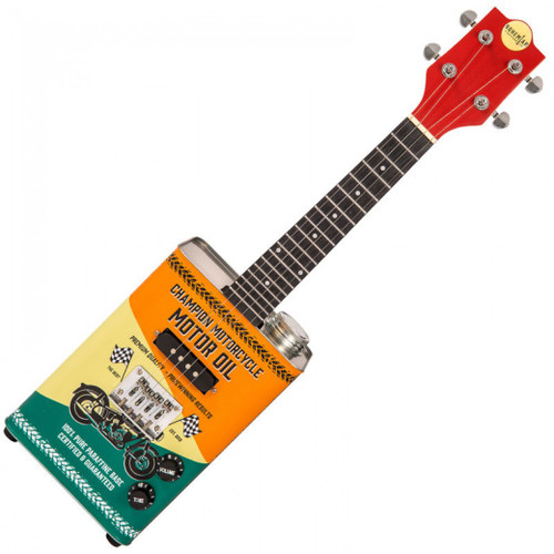 MorMusic - The Guitar Specialists Est 1985  In stock and ready to ship at MorMusic  Seen it cheaper elsewhere? We'll aim to match or beat any like for like price!  The Limited Edition oil-can, steel strung electric ukuleles from Bohemian, maintain all the features that have made these stunning instruments extremely popular with musicians far and wide.  Constructed from high quality steel, each oil-can body is visually striking, with fine detailed, hi-spec, durable vinyl-wrap graphics in three new and unique designs that include Bohemian branded 'Surf Wax', 'Motor Oil' and 'Moonshine'.  Aside from the stunning visual concept, Bohemian ukuleles are lightweight and compact, allowing effortless access to all 19 frets of the Lignum Rosa fingerboard. The neck itself features an extended tenon design and travels the full length of the oil-can body, whilst an internal basswood structure, counterbalances the ukulele's playing position and enhances natural sustain and output. Unplugged, these cool instruments also have enough volume for unamplified practicing.