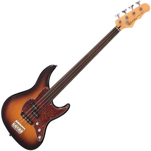 Fret-King Black Label Perception Fretless Bass ~ Original Classic Burst