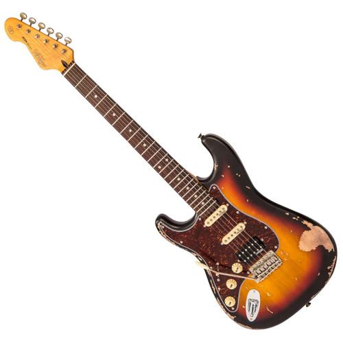 Vintage V6H ICON HSS Electric Guitar ~ Left Hand Distressed Sunburst