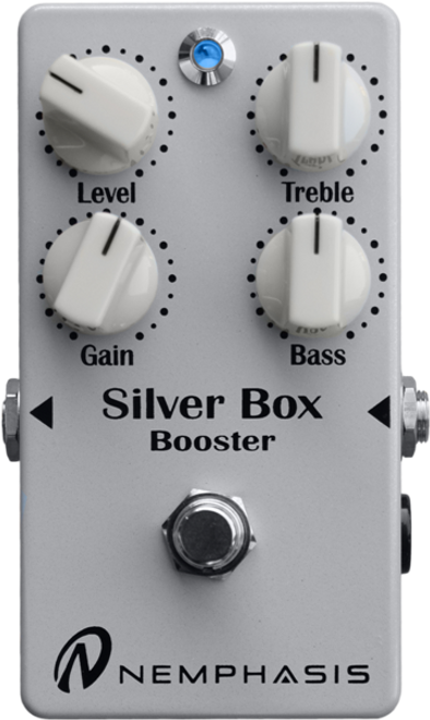 "<p>In stock and ready to ship at MorMusic</p><p>Seen it cheaper elsewhere? We'll aim to match or beat any like for like price!</p><p><span>&ldquo;This one goes to 20!&rdquo; The Silver Box Booster is the natural extension of the guitar&rsquo;s volume knob.</span><br /><span>The Silver Box Booster offers up to 22 dB of clean boost, a natural overdrive that retains all of your playing nuances and delivers a highly musical EQ. &nbsp;Additionally it keeps your guitar&rsquo;s tonal colour unaltered.</span><br /><span>From clean and bright sounds to highly dynamic crunch tones and from robust full-spectrum sounds to tones that cut through the mix, Silver Box provides an &ldquo;in your face&rdquo; sound full of character and presence.</span><br /><span>This is the perfect multi-tool for the professional musician.</span><br /><span>Technical Details:</span></p> <ul> <li>Scrupulously researched and selected electronic components.</li> <li>True bypass.</li> <li>Full analogue.</li> <li>Jack input/output 6.3 mm or 1/4&Prime; each side.</li> <li>Four controls allow adjustment of gain, tone (bass and treble) and volume. LED indicates the effect is on.</li> <li>No click /pop from foot switch.</li> <li>Power supply required 9 volts DC from external power supply unit via centre negative 2.1mm plug or 9V battery. Battery access via four screws on the base of the unit.</li> <li>Power consumption 10 mA (max).</li> <li>Dimensions (mm): 72 X 120 X 55</li> <li>Weight (g): 250 (without battery).</li> </ul> <p><br /><span>For more details see the manufacturers website&nbsp;<a href=""http://www.nemphasis.com/en/products/silver-box-marco-tafelli-signature-booster.html"">here</a>&nbsp;</span></p>"