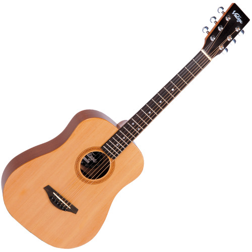 "<h2 id=""prodh2"">Vintage VTG100N Travel Series (Natural, Left Handed)</h2> <p>Whether you are wanting a travel companion or an instrument for a young beginner the VTG100 is a wonderful instrument for the job.</p> <p>Forget your 3/4 size classical and buy a proper guitar that sounds, plays and feels wonderful!</p> <div class=""list_custom1""> <h2>Features:</h2> <ul> <li>Acoustic Travel Series</li> <li><span>Top</span>: Solid Spruce</li> <li><span>Back</span>: Mahogany</li> <li><span>Sides</span>: Mahogany</li> <li><span>Binding</span>: Back</li> <li><span>Neck</span>: Maple</li> <li><span>Bridge</span>: Mahogany</li> <li><span>Scale</span>: 620mm</li> <li><span>Tuners</span>: Chrome</li> <li><span>Strings</span>: High Quality USA Made</li> <li>Complete with padded</li> <li>""Vintage"" Carry Bag</li> </ul> <p><span>&nbsp;</span></p> </div>"