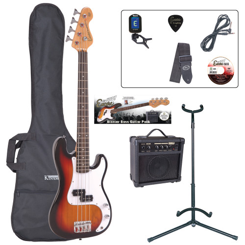 <p>In stock and ready to ship at MorMusic</p><p>Seen it cheaper elsewhere? We'll aim to match or beat any like for like price!</p><p>If a full, long scale bass guitar is just too much to manage, the superb new 7/8 size Encore E20 is the perfect answer. The E20 allows younger players and players with smaller hands to experience all the feel, sound and excitement of playing bass guitar åÐ with none of the hassle!</p> <p><strong>Outfit Inludes:</strong> <br />Encore E20 Bass Guitar<br />Kinsman 10 Watt Bass Amp<br />Tuner<br />Carry Bag<br />Guitar Stand<br />Lead<br />Strap<br />Tutorial DVD and Plectrum</p>