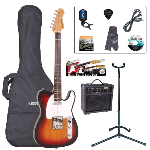 <p>The Encore E2 Blaster Pack gets you straight into the action with loads of great guitar tones from rock to country – all ready to happen! The E2 is especially for those who love rock, blues, and country-based guitar sounds, and indie, and reggae... and even jazz... this is one versatile guitar!</p> <p><b>Contents</b></p> <li>Encore E2 Electric Guitar</li> <li>Kinsman 10 Watt Rehearsal Guitar Amp</li> <li>Guitar Tech Tuner</li> <li>Kinsman Carry Bag</li> <li>Kinsman Guitar Stand</li> <li>Kinsman Guitar Lead</li> <li>Guitar Tech Guitar Strap</li> <li>Encore Tutorial DVD</li> <li>Spare Set of Strings</li> <li>Plectrum</li>  <li>Tutor Listing</li>