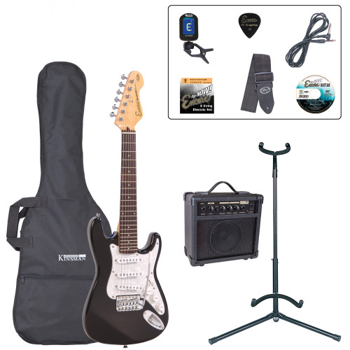 """<p>In stock and ready to ship at MorMusic</p><p>Seen it cheaper elsewhere? We'll aim to match or beat any like for like price!</p><p>An urgent message for the rock guitar heroes of tomorrow åÐ the music scene of the future needs you to get started on an electric guitar NOW! Don't worry if a full-size electric guitar is a bit too much of a stretch for young arms and hands at the moment. Encore's neat E375 3/4 size electric guitar lets you get to grips without the pain of over-stretching. Smaller maybe, but a serious guitar with stature! For ease of playing and in order to ensure that the guitar intonates correctly, we recommend that you tune the E375 guitar to 'AåÕ tuning, rather than standard 'EåÕ tuning.</p><p style=""""line-height: 22.005px;""""><b>Contents</b></p><li style=""""line-height: 22.005px;"""">Encore E375 3/4 Size Electric Guitar</li><li style=""""line-height: 22.005px;"""">Kinsman 10 Watt Rehearsal Guitar Amp</li><li style=""""line-height: 22.005px;"""">Guitar Tech Tuner</li><li style=""""line-height: 22.005px;"""">Kinsman Carry Bag</li><li style=""""line-height: 22.005px;"""">Kinsman Guitar Stand</li><li style=""""line-height: 22.005px;"""">Kinsman Guitar Lead</li><li style=""""line-height: 22.005px;"""">Guitar Tech Guitar Strap</li><li style=""""line-height: 22.005px;"""">Encore Tutorial DVD</li><li style=""""line-height: 22.005px;"""">Set of Strings</li><li style=""""line-height: 22.005px;"""">Plectrum</li><li style=""""line-height: 22.005px;"""">Tutor Listing</li>"""