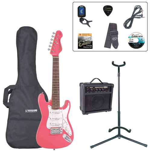 <p>In stock and ready to ship at MorMusic</p><p>Seen it cheaper elsewhere? We'll aim to match or beat any like for like price!</p><p>An urgent message for the rock guitar heroes of tomorrow åÐ the music scene of the future needs you to get started on an electric guitar NOW! Don't worry if a full-size electric guitar is a bit too much of a stretch for young arms and hands at the moment. Encore's neat E375 3/4 size electric guitar lets you get to grips without the pain of over-stretching. Smaller maybe, but a serious guitar with stature! For ease of playing and in order to ensure that the guitar intonates correctly, we recommend that you tune the E375 guitar to 'AåÕ tuning, rather than standard 'EåÕ tuning.</p> <p><b>Contents</b></p>  <li> Encore E375 3/4 Size Electric Guitar </li><li> Kinsman 10 Watt Rehearsal Guitar Amp </li><li> Guitar Tech Tuner</li><li> Kinsman Carry Bag </li><li> Kinsman Guitar Stand </li><li> Kinsman Guitar Lead </li><li> Guitar Tech Guitar Strap </li><li> Encore Tutorial DVD </li><li> Set of Strings </li><li> Plectrum </li><li> Tutor Listing</li>
