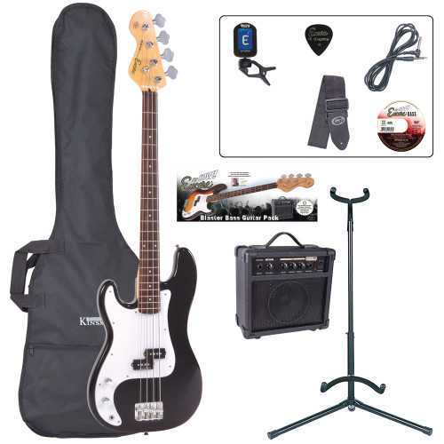 <p>In stock and ready to ship at MorMusic</p><p>Seen it cheaper elsewhere? We'll aim to match or beat any like for like price!</p><p>The ideal entry to bass playing, with rock solid bass performance, precise tone and superb playing dynamics. Couple to an 'easy-to-get-on-with' feel and first-class instrument balance for a full-size, long scale instrument the E4 bass guitars are your direct access straight into the world of full-on bass playing.</p> <p><strong>Contents</strong></p> <ul> <li>Encore E4 Bass Guitar</li> <li>Kinsman 10 Watt Bass Amp</li> <li>Guitar Tech Tuner</li> <li>Kinsman Carry Bag</li> <li>Kinsman Guitar Stand</li> <li>Kinsman Guitar Lead</li> <li>Guitar Tech Guitar Strap</li> <li>Encore Tutorial DVD</li> <li>Plectrum</li> <li>Tutor Listing</li> </ul>