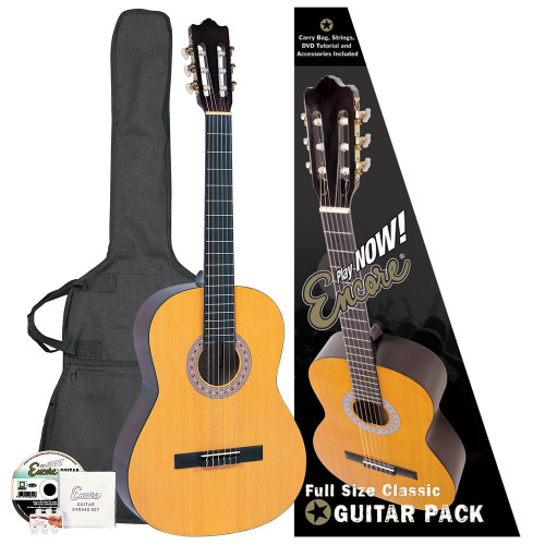 "<span style=""line-height: 22.005px;"">Encore Classic Guitars have enjoyed a market leading reputation for many years as the #1choice for student classical instruments. This easy-to-get-on-with full size guitar is the ideal way to begin learning the exciting skills of playing classical guitar at an early age.&nbsp;</span><br style=""line-height: 22.005px;""><br style=""line-height: 22.005px;""><b style=""line-height: 22.005px;"">Outfit includes:&nbsp;</b><br style=""line-height: 22.005px;""><span style=""line-height: 22.005px;"">• Encore Classic Guitar&nbsp;</span><br style=""line-height: 22.005px;""><span style=""line-height: 22.005px;"">• Guitar Carry Bag&nbsp;</span><br style=""line-height: 22.005px;""><span style=""line-height: 22.005px;"">• Encore Set of Strings&nbsp;</span><br style=""line-height: 22.005px;""><span style=""line-height: 22.005px;"">• Pitch Pipe&nbsp;</span><br style=""line-height: 22.005px;""><span style=""line-height: 22.005px;"">• Tutorial DVD</span>"