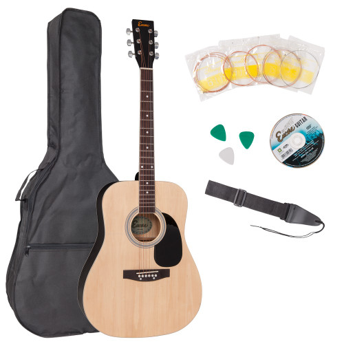 <p>In stock and ready to ship at MorMusic</p><p>Seen it cheaper elsewhere? We'll aim to match or beat any like for like price!</p><p>Encore acoustic guitars are expertly constructed,full size, big-sounding instruments. They offer a pleasantly crisp and bright tone with an impressive ringing sustain. Responsive and easy to play, they make an ideal instrument on which to begin learning guitar.</p><p>Outfit includes:</p><p>å¥ Encore Acoustic Guitar</p><p>å¥ Satin Finish</p><p>å¥ Guitar Carry Bag</p><p>å¥ Guitar Strap</p><p>å¥ Plectrums</p><p>å¥ Pitch Pipe</p><p>å¥ Tutorial DVD</p><p>å¥ Spare Set of Strings</p>