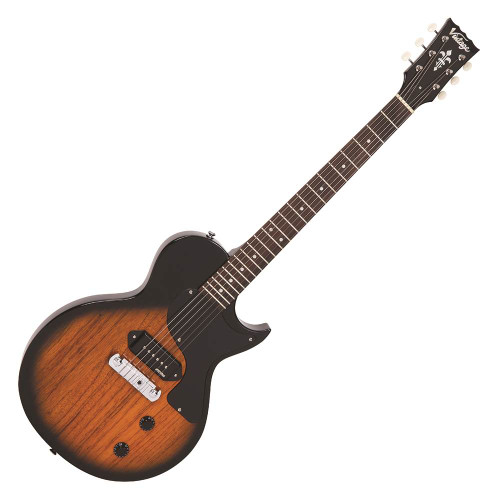 """<p>In stock and ready to ship at MorMusic</p><p>Seen it cheaper elsewhere? We'll aim to match or beat any like for like price!</p><p>This classic looking electric guitar is the Vintage V120TB in a gorgeous two tone sunburst. It's a simple, great playing guitar that's blast from the past and brings to life that old school tone, classic feels and a look to impress, all for such a great price!</p> <p>The P90 style pickup gives a that vintage, wirey tone which sounds so good when played with a bit of crunch! The controls couldn't be more simple either, with just one volume and one tone knob to control your sound it's pretty much plug and play! Whether you want to play Blues, Rock, Country or any style it's a versatile instrument that's ready to rock!</p> <p>The lightweight body and single cutaway design make it extremely comfortable to hold and easy to play, even up to the 22nd fret! It's a guitar that's ideal for beginners whilst still being good enough for intermediate players! It's going to last a decent amount of time before an upgrade is due! With free UK delivery it a whole lot for a small price!</p> <table id=""""product-attribute-specs-table"""" class=""""data-table""""> <tbody> <tr class=""""first odd""""><th class=""""label"""">SKU</th> <td class=""""data last"""">V120TB</td> </tr> <tr class=""""even""""><th class=""""label"""">Brand</th> <td class=""""data last"""">Vintage</td> </tr> <tr class=""""odd""""><th class=""""label"""">Finish</th> <td class=""""data last"""">Two Tone Sunburst</td> </tr> <tr class=""""even""""><th class=""""label"""">Body</th> <td class=""""data last"""">Mahogany</td> </tr> <tr class=""""odd""""><th class=""""label"""">&nbsp;</th> <td class=""""data last"""">&nbsp;</td> </tr> <tr class=""""even""""><th class=""""label"""">Scale Length</th> <td class=""""data last"""">24.75"""" / 628mm</td> </tr> <tr class=""""odd""""><th class=""""label"""">Frets</th> <td class=""""data last"""">22</td> </tr> <tr class=""""even""""><th class=""""label"""">Nut Width</th> <td class=""""data last"""">42mm</td> </tr> <tr class=""""odd""""><th class=""""label"""">Neck</th> <td class=""""data last"""">Mahogany (set neck)</td> </t"""