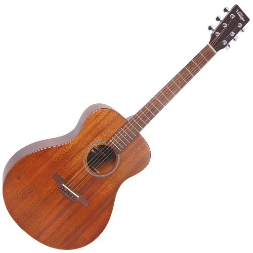"<div class=""heading""> <div class=""h2-title""> <h2>Vintage V300 Acoustic Guitar, Mahogany</h2> </div> </div> <div class=""short-description"">The Vintage V300 Acoustic Guitar is fantastic value for money. This Concert Acoustic looks and sounds great with a solid Mahogany top giving you that warm, rich tone. A comfortable, fast playing neck makes the V300 a pleasure to play.</div> <div class=""short-description""> <p>Guitar Magazine awarded the V300 'Best Acoustic Guitar Under 1,000' in their end of year round up.</p> <p><em>""This little concert acoustic is stonkingly good. A comfortable, fast playing neck, plus good dynamics and volume from the parlour-esque body. At this price, go buy! Every home should have one.""</em>&nbsp;<strong>Guitar Magazine</strong></p> <p class=""br"">&nbsp;</p> <h2>Features</h2> <ul> <li>Top: Solid Mahogany</li> <li>Back: Mahogany</li> <li>Sides: Mahogany</li> <li>Scale: 647mm</li> <li>Tuners: Chrome</li> <li>Strings: High Quality USA Made</li> <li>Finish: Mahogany</li> </ul> <p><span>&nbsp;</span></p> </div>"