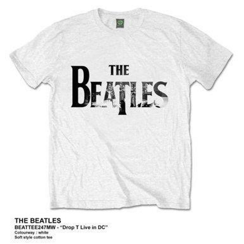 "<p>In stock and ready to ship at MorMusic</p><p>Seen it cheaper elsewhere? We'll aim to match or beat any like for like price!</p><p><span>An officially licensed premium Beatles white soft style cotton tee, featuring The Beatles drop T logo ""Live in DC"".&nbsp;</span></p>"