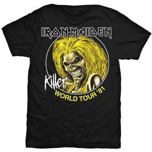 """<p>In stock and ready to ship at MorMusic</p><p>Seen it cheaper elsewhere? We'll aim to match or beat any like for like price!</p><p><span>Iron Maiden men's standard black tshirt featuring """"Killer World Tour '81"""" motif. 100% cotton. This was Iron Maiden's first world tour and took place from 17 February 1981 to 15 November 1981. This would be Iron Maiden's last tour with singer Paul Di'Anno, who was replaced with Samson vocalist Bruce Dickinson.</span></p>"""
