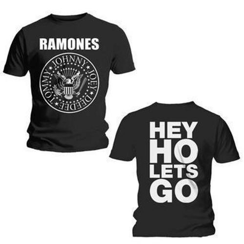 <p>In stock and ready to ship at MorMusic</p><p>Seen it cheaper elsewhere? We'll aim to match or beat any like for like price!</p><p><span>This black T-shirt features the Ramones 'Hey Ho' design printed across the front. This garment also has a printed back. Printed on a Gildan soft style T-shirt for added comfort, 150gsm 100% Cotton Pre-shrunk Jersey Knit, deluxe 30 ring spun softness, double needle sleeves.</span></p>