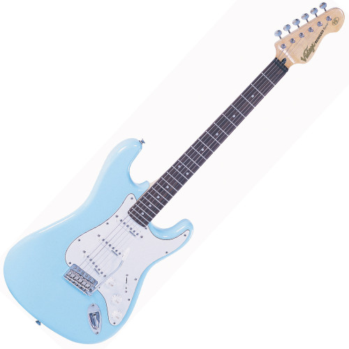 """<p>In stock and ready to ship at MorMusic</p><p>Seen it cheaper elsewhere? We'll aim to match or beat any like for like price!</p><p>The Vintage V6 Laguna Blue offers an extraordinarily high level of specification, with many built-in custom shop level features. These include the revered Wilkinson WVC original specification vibrato featuring authentic bent steel saddles for that classic sparkle and tone; precision machined pivot points for total &lsquo;return to pitch&rsquo; accuracy and a stagger-drilled sustain block to prevent string hang-up. An adjustable, &lsquo;vintage bend&rsquo; push-in arm completes this definitive vibrato system.<br />Attention to authentic tone continues with the use of a matched and calibrated set of Wilkinson Alnico V single coil pickups, using a reverse wound/reverse polarity middle pickup for clarity and dynamics and feature true vintage-style chamfered edge polepieces. With one volume and two tone controls, the 5-way lever switch and control circuitry are configured for maximum tone, evenness of response and output for supreme versatility.</p> <ul> <li>Body: American Alder</li> <li>Neck: Hard Maple &ndash; Bolt On</li> <li>Scale: 25.5""""/648mm</li> <li>Frets: 22</li> <li>Neck Inlays: Pearloid Dot. Black dot (MFR/MSSB)</li> <li>Tuners: Wilkinson&reg; WJ55 E-Z-LOK&trade;</li> <li>Vibrato: Wilkinson&reg; WVC</li> <li>Pickups: Wilkinson&reg; Single Coil x 3 (N) WVS (M) WVS (B) WVS</li> <li>Hardware: Chrome</li> <li>Controls: 1 x Volume/ 2 x Tone/ 5-Way Lever</li> </ul> <hr /> <p><em>&lsquo;Wilkinson re-designed every component to his exhausting specs... it was a stunning success.&rsquo;</em> <em>Australian Guitar magazine</em><br /><em>&lsquo;It&rsquo;s rare for a guitar to feel truly effortless (especially when you pick it up for the first time) but the V6 is a joy to play.</em><br /><em>Tuning is easy, with the guitar holding pitch well thanks to the E-Z-Lok string-locking system, and the classy-looking vibrato also features highly in our"""