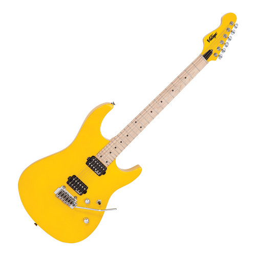 """<p>In stock and ready to ship at MorMusic</p><p>Seen it cheaper elsewhere? We'll aim to match or beat any like for like price!</p><p>The Vintage V6M24DY in Daytona Yellow is a solid body electric guitar. Vintage have become known for making superb quality guitars at a price point you would not believe.The new Vintage V6M24 is no exception. This 24 fret electric guitar features superb hardware and playability. It's perfectly good enough to be your main instrument.</p> <p>We can't get over how much guitar you get for your money with the Vintage V6M24DY! The sleek body is made from American Alder. Double cutaways allow for good access to the upper frets. The well finished Maple neck is slim and features 24 medium jumbo frets. It's effortlessly playable. The 25.5"""" scale on the Vintage V6M24DY is further helped by the reverse headstock giving the lower strings more tension. The neck is joined to the body via a low profile 4 bolt join.</p> <p>The Vintage V6M24 uses the excellent Wilkinson VS50IIK Vibrato system. This two pivit point tremolo is incredibly stable and smooth in use. Tuning is kept rock solid thanks to Wilkinson E-Z-Lok tuners. These innovative machine heads feature two sets of holes in each post. This allows you to choose the string angle you prefer past the nut. You can use them as traditional machine heads or feed the excess string through the second hole making the string lock in to place. The Vintage V6M24 Daytona Yellow is loaded with two Wilkinson WHHB humbuckers. These provide a tight bottom end and crisp highs. The pickups are controlled by a 3-way switch with volume and tone controls.<br />The Vintage V6M24DY Daytona Yellow has to be one of the best value electric guitars on the market today, we highly recommend checking one out.</p> <p>&nbsp;</p>"""