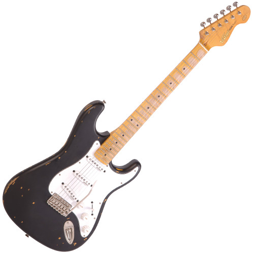 <p>The <strong>Vintage V6 ICON </strong> 6-String ST-Style Electric Guitar, Heavily Distressed Boulevard Black. Great looking, great sounding, great to play &ndash; and at an unbelievably competitive price.</p> <p>The Vintage V6 ICON could save 20 years of your life! It&rsquo;s true to say that the best guitars are built from the inside out, and Vintage enjoys a well-earned reputation for building great guitars. Nothing gives off that unique, so-cool vibe like the Vintage V6 ICON. The instrument&rsquo;s character shines through the worn finish, saying &lsquo;this guitar has paid its dues&rsquo;. Its sound has the heart and soul of a thousand gigs in it and you can feel it when you play it. It feels special to hold, and special to play. But how many people can afford the vintage instrument of their dreams? That special instrument which displays a unique level of wear from decades of playing &ndash; at home, numerous rehearsal sessions, smokey pubs to working mens&rsquo; clubs, gigs and tours at home and abroad? Or how many guitarists can wait 20 years before their own guitar starts to show that kind of time-related character? Now you don&rsquo;t have to wait! You don&rsquo;t even have to re-mortgage the house to make the payment. Renowned guitar specialists Vintage, in conjunction with acknowledged guitar guru, Trevor Wilkinson, have a new specially-aged electric guitar range that ticks all the boxes &ndash; the Vintage V6 ICON Series. This fantastic guitar, fully equipped with equally aged Wilkinson tuners, hardware and pickups look like they&rsquo;ve been played for decades with all the marks, wear and tear to prove it. They&rsquo;ve been through the mill but they&rsquo;re cool and ready for the next gig. Get one of the new Vintage V6 ICON Series guitars and save 20 years of your life! Best of all, you won&rsquo;t believe the price.</p> <p><strong>The main features of the Vintage V6 ICON include:</strong></p> <ul> <li>Body: Eastern Poplar</li> <li>Neck: Hard Maple 