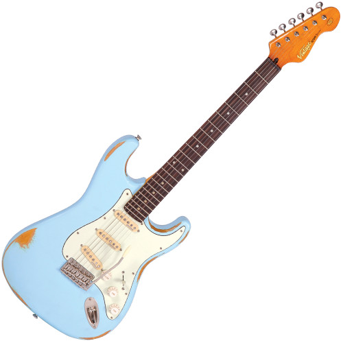 <p>In stock and ready to ship at MorMusic</p><p>Seen it cheaper elsewhere? We'll aim to match or beat any like for like price!</p><p>Vintage V6 - Electric Guitar</p> <p>The Vintage&reg; V6 Series features the new Wilkinson&reg; WVC original specification vibrato featuring authentic bent steel saddles for that classic sparkle and tone, precision machined pivot points for total &ldquo;return to pitch&rdquo; accuracy, and a stagger drilled sustain block to prevent string hang-up.</p> <p>A vintage bend, push-in arm completes this definitive vibrato system.</p> <p>Attention to authentic tone continues, with the use of a matched, calibrated set of Wilkinson&reg; Alnico single coil pickups; using a reverse wound, reverse polarity middle pickup for clarity and dynamics and featuring staggered edge, staggered pole pieces for focus and definition.</p> <p>Featuring one volume and two tone controls, the five way lever switch and control circuitry are configured for maximum tone, evenness of response and output for supreme versatility.</p> <p>Comfort contours and radiused edges give the body a familiarity whilst the vintage profile neck and 10&rdquo; radius 22 fret, overhung fingerboard give an instantly familiar and comfortable feel.</p> <p>Wilkinson&reg; Vintage tuners featuring the patent pending E-Z-LOK&trade; string lock system, quick and easy to use, with no tools, provides for hugely enhanced tuning stability, with super quick string change times.</p> <p>Staggered string posts, providing the correct break angles across the top nut, ensure accurate tuning, correct string tensions for enhanced feel and aid tuning stability.</p> <p>Vintage V6 Distressed Finishes</p> <p>It's true to say that the best guitars are built from the inside out, and Vintage enjoys a well-earned reputation for building great guitars. Nothing gives off treat unique, so-cool vibe like the Vintage V6 ICON. The instrument's character shines through the worn finish, saying this guitar has paid its dues.</