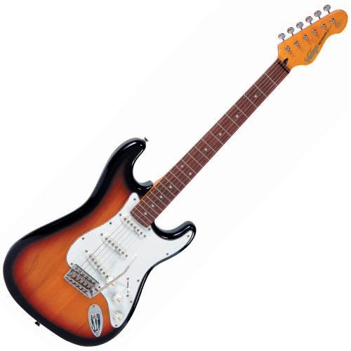 """<p>The <strong>Vintage V6SSB Electric Guitar, Sunset Sunburst</strong>... Soulful, Sweet-Toned, Articulate.</p> <p>The Vintage V6 Series features the new Wilkinson&reg; WVC original specification vibrato featuring authentic bent steel saddles for that classic sparkle and tone, precision machined pivot points for total &ldquo;return to pitch&rdquo; accuracy, and a stagger drilled sustain block to prevent string hang-up. A vintage bend, push-in arm completes this definitive vibrato system.</p> <p>Attention to authentic tone continues, with the use of a matched, calibrated set of Wilkinson&reg; Alnico single coil pickups; using a reverse wound, reverse polarity middle pickup for clarity and dynamics and featuring staggered edge, staggered pole pieces for focus and definition.</p> <p>Featuring one volume and two tone controls, the five way lever switch and control circuitry are configured for maximum tone, evenness of response and output for supreme versatility.</p> <p><strong>The Vintage V6SSB Electric Guitar main features include:</strong></p> <ul> <li>Vintage&reg; V6 Series</li> <li>Body: Eastern Poplar</li> <li>Neck: Hard Maple &ndash; Bolt On</li> <li>Scale: 25.5""""/648mm</li> <li>Frets: 22</li> <li>Neck Inlays: Pearloid Dot</li> <li>Tuners: Wilkinson&reg; WJ55 E-Z-LOK&trade;</li> <li>Vibrato: Wilkinson&reg; WVC</li> <li>Pickups: Wilkinson&reg; Single Coil x 3 (N)WVS (M)WVS (B)WVS</li> <li>Hardware: Chrome</li> <li>Controls: 1 x Volume/ 2 x Tone/ 5-Way Lever</li> </ul> <p>&nbsp;</p>"""