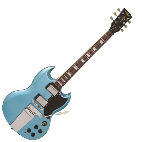 """<p>In stock and ready to ship at MorMusic</p><p>Seen it cheaper elsewhere? We'll aim to match or beat any like for like price!</p><p>This Vintage VS6V is one serisouly cool electric guitar, with that awesome, dazzling Gun Hill Blue finish and a vintage style Vibrola tremolo bridge it's a whole lot of guitar at an amazing price tag! For most styles this thing is great but it really comes alive if you want to play some hard rocking tunes or blues! Whether you're an absolute beginner or even a pro wanting to give a Vibrola bridge a go this guitar is great and will last for ages!</p> <p>The Mahogany body makes the guitar a nice weight, very comfortable and highly resonant which aids its classic, full sound. The Mahogany neck and Rosewood fingerboard feel great to play and with the addition of those stunning Pearloid Crown inlays it just looks so good! The body's design makes it super easy to make use of all the 22 frets on offer, it's a great playing instrument!</p> <p>The Wilkinson parts and electronics bring this guitar to life, excellent pickups and hardware make for a sturdy feeling instrument which you could easily use at gigs</p> <p>&nbsp;</p> <table style=""""width: 167px; height: 364px;"""" border=""""0"""" cellspacing=""""0"""" cellpadding=""""0""""> <tbody> <tr> <td valign=""""top""""> <ul> <li>Set Mahogany neck</li> <li>Gloss Gun Hill Blue neck finish</li> <li>22 frets</li> <li>24.75"""" scale length</li> <li>42mm nut width</li> <li>Pearloid Crown inlays</li> </ul> </td> </tr> <tr> <td colspan=""""3""""><hr noshade=""""noshade"""" width=""""90%"""" /></td> </tr> <tr> <td width=""""125""""> <p align=""""center""""><span>&nbsp;</span></p> </td> <td width=""""25"""">&nbsp;</td> <td valign=""""top""""> <ul> <li>Bridge pickup: Wilkinson Double Coil MWVC</li> <li>Neck pickup: Wilkinson Double Coil MWVC</li> <li>3-way pickup selector switch</li> <li>2x volume controls</li> <li>2x tone controls</li> </ul> </td> </tr> <tr> <td colspan=""""3""""><hr noshade=""""noshade"""" width=""""90%"""" /></td> </tr> <tr> <td width=""""125"""">&nbsp;</td> <td width=""""25"""">&nbsp;</"""