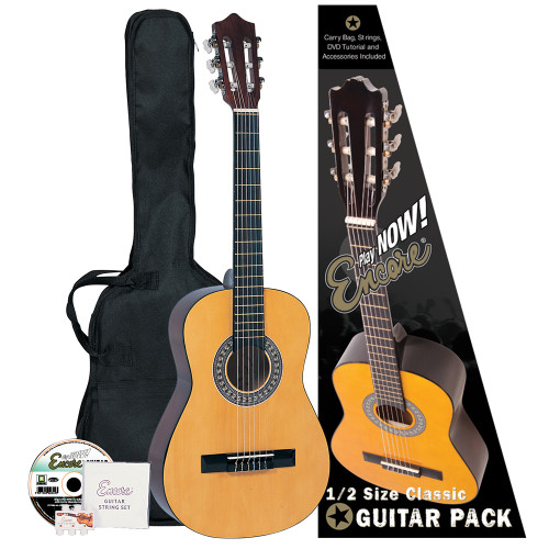 Encore Classic Guitars have enjoyed a market leading reputation for many years as the #1choice for student classical instruments. This easy-to-get-on-with half size guitar is the ideal way to begin learning the exciting skills of playing classical guitar at an early age. <br><br><b>Outfit includes: </b><br>• Encore Classic Guitar <br>• Guitar Carry Bag <br>• Encore Set of Strings <br>• Pitch Pipe <br>• Tutorial DVD