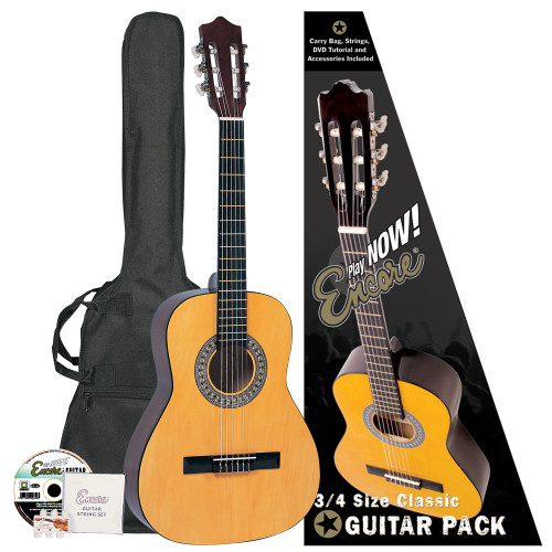 "<span style=""line-height: 22.005px;"">Encore Classic Guitars have enjoyed a market leading reputation for many years as the #1choice for student classical instruments. This easy-to-get-on-with three quarter&nbsp;size guitar is the ideal way to begin learning the exciting skills of playing classical guitar at an early age.&nbsp;</span><br style=""line-height: 22.005px;""><br style=""line-height: 22.005px;""><b style=""line-height: 22.005px;"">Outfit includes:&nbsp;</b><br style=""line-height: 22.005px;""><span style=""line-height: 22.005px;"">• Encore Classic Guitar&nbsp;</span><br style=""line-height: 22.005px;""><span style=""line-height: 22.005px;"">• Guitar Carry Bag&nbsp;</span><br style=""line-height: 22.005px;""><span style=""line-height: 22.005px;"">• Encore Set of Strings&nbsp;</span><br style=""line-height: 22.005px;""><span style=""line-height: 22.005px;"">• Pitch Pipe&nbsp;</span><br style=""line-height: 22.005px;""><span style=""line-height: 22.005px;"">• Tutorial DVD</span>"