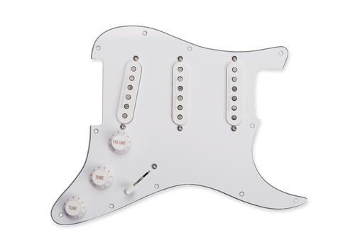 """<p>In stock and ready to ship at MorMusic</p><p>Seen it cheaper elsewhere? We'll aim to match or beat any like for like price!</p><div class=""""row""""> <div class=""""col-xs-12"""">The California 50's pickup set from Seymour Duncan is now available pre-assembled in a loaded pickguard format. Assembled in the Seymour Duncan facility in Santa Barbara, California, the loaded pickguard contains everything you need for a quick swap or a new custom build on your Stratocaster. The pickguard comes completely assembled with Bourns potentiometers with USA-sized knurled shaft, custom-manufactured to Seymour Duncan's specifications along with a vintage style 5-way switch, matching knobs and switch tip, and vintage cloth push-back wire. Matches the most common USA 11-hole pattern.</div> </div> <div class=""""row""""> <div class=""""col-xs-12""""> <h3>Specification</h3> Contains everything you need for a quick swap or a custom build</div> </div>"""