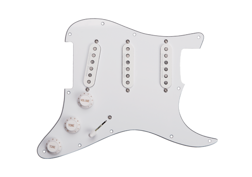 <p>In stock and ready to ship at MorMusic</p><p>Seen it cheaper elsewhere? We'll aim to match or beat any like for like price!</p><p><span>Summary&nbsp;</span><br /><span>Loaded with a versatile combination of our Stack Plus pickups. Comes with a pushpull for splitting the pickups into true single coils.&nbsp;</span><br /><br /><span>Description&nbsp;</span><br /><span>With three of our patented Stack Plus pickups, this prewired pickguard delivers big, beefy tones without sacrificing the chime and sparkle of a great vintage Strat. The Custom Stack Plus in the bridge position gives you a full, fat sounding bridge tone. The Vintage-Hot Stack Plus gives you a little thicker neck tone. And the Classic Stack Plus in the middle gives you a variety of vintage flavorings in positions 2, 3, &amp;amp; 4. Overall, you get a truly versatile, noiseless setup that can be dropped into your Strat. Any future pickup changes you decide to make will be a snap because this pickguard comes equipped with a Liberator solderless system that makes swapping pickups fast and easy. There is also coil-splitting option that lets you choose between hum-cancelling Stack mode and traditional single-coil operation. Hand built in Santa Barbara, CA, this fully loaded pickguard comes with our Liberator solderless pickup system, and uses an 11 screw USA pickguard pattern. These pickups all use alnico 5 rod magnets, 3-conductor splittable leadwire, and are vacuum wax potted for squeal free operation.</span></p>