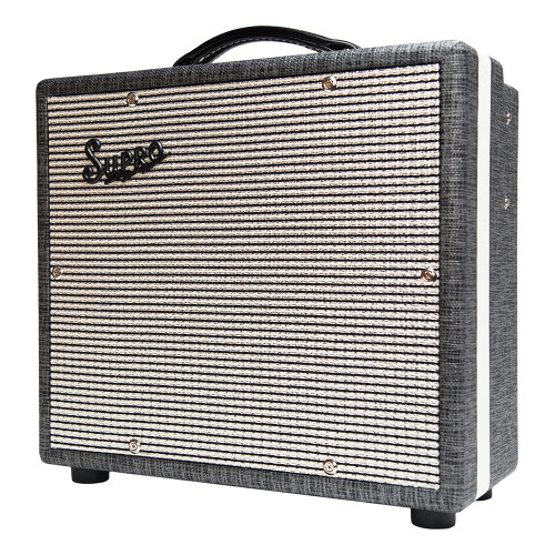 <p>In stock and ready to ship at MorMusic</p><p>Seen it cheaper elsewhere? We'll aim to match or beat any like for like price!</p><p>SUPRO COMET 1 X 10 TUBE AMPLIFIER</p> <p>The Supro 1610rt Comet is a high-gain, low-wattage 1&times;10 combo with reverb, tremolo and switchable power. Designed to act as a go-anywhere companion to your favorite guitars, this lightweight tube amp cranks out 6-Watts or 14-Watts of screaming hot vintage tone with an on-board option to drench your sound in tube-driven reverb and tremolo. The Comet is your desert island tube amplifier.</p> <p>The preamp found in the Comet delivers warm, blooming clean tones up until 12-o-clock on the volume knob. Past noon, the Comet&rsquo;s voice rolls over into Supro crunch, giving way to a singing, violin-like overdrive at full volume. The Comet is remarkably high-gain for a vintage flavored amp and it nails that sweet-spot without being too loud for comfort.</p> <p>The Comet&rsquo;s vintage correct tremolo effect occurs in the preamp, before the reverb. This 12Ax7-based tremolo circuit allows for wider overall speed range and a deeper effect as compared to our louder models where the tremolo happens in the power tubes, after the reverb.</p> <p>The power-amp found in the Comet uses a single 6L6 tube with switchable plate voltage to achieve studio and practice friendly 6 Watts or a more robust 14 Watts for stage use. The overdrive that occurs within the Comet&rsquo;s &ldquo;single-ended,&rdquo; Class-A output stage is rich in even-order harmonics and soaked in tube compression. True to the legacy of the original, microphone-friendly Supro combos, the Comet&rsquo;s exceptional dynamics and ultra-low noise performance make it an ideal recording amp.</p> <p>The Comet is dressed in 1959 Supro cosmetics, with Black Rhino Hide tolex, black piping, white welting and a gold faceplate. Similar in construction to our award winning Black Magick and Supreme amplifier models, there is no beam blocker in front of the Comet&rsquo;s custom-made CR10 speaker, facilitating maximum throw and crystal-clear treble response from this compact all-tube masterpiece.</p> <p>A matching 1700 BD12 loaded, 1&times;12 extension cabinet can also be hooked up to the Comet, bringing the overall speaker impedance load down to 4-ohms to deliver maximum punch and additional stage volume for gigs. The 1610 Comet, and the entire line of Supro amps is hand-assembled in by Absara Audio in Port Jefferson, NY, USA.</p> <p>Features:<br />&bull; High Gain preamp<br />&bull; All-tube Tremolo and Reverb<br />&bull; 6-Watts or 14-Watts Switchable Power</p> <p>&bull; Single-Ended &ldquo;Class-A&rdquo; Power Amp<br />&bull; 1 &times; 10&Prime; Custom-voiced Supro CR10 speaker<br />&bull; EXT speaker jack for matching extension cabinet<br />&bull; 3x JJ 12AX7 preamp tubes<br />&bull; 1x JJ 12AT7 preamp tube\<br />&bull; 1x Sovtek 5881/6L6WGC power tube<br />&bull; 17 5/8&Prime; x 7 1/2&Prime; x 15 1/2&Prime; &ndash; 44.7 x 19 x 39.4 cm<br />&bull; 6 lbs &ndash; 15.3 kg<br />&bull; Gold Faceplate<br />&bull; 1959 Cosmetics with Black Rhino Hide Tolex<br />&bull; Assembled in NY, USA</p> <p>SKU: 181118090364</p>