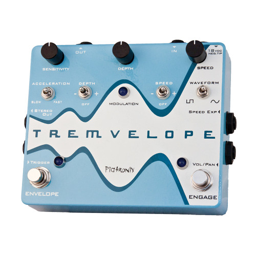 <p>In stock and ready to ship at MorMusic</p><p>Seen it cheaper elsewhere? We'll aim to match or beat any like for like price!</p><p>If you're into Pigtronix pedals, then you probably know by now that these guys don't do anything by halves.&nbsp; The Pigtronix Tremvelope is no exception.&nbsp; Unlike typical tremolo pedals, the Pigtronix Tremvelope locks onto the dynamics of your playing style, using a volume-triggered envelope to determine the speed and depth of its modulation.&nbsp; The result is a tremolo that sounds natural and that's super easy to play with.&nbsp; Once you dial in the Tremvelope's LFO depth, speed, and waveform, you don't have to touch a thing to get a smooth and organic effect that responds smoothly to your touch.&nbsp; Acceleration and sensitivity controls let you further dial in the Tremvelope's behavior, allowing you to set how quickly the tremolo sets in and how much your playing dynamics affect the envelope speed.&nbsp; If you want to take even more control over the Tremvelope, you can add an expression pedal that adjusts its speed parameter, and another expression pedal that adjusts its volume and panning settings.&nbsp; On top of that, you can use an external trigger to fire off the envelope, opening up a huge range of modulation possibilities.&nbsp; From cool jazzy effects to synthy overtones to add color to your solos, the Pigtronix Tremvelope is an intensely fun pedal that lets you pull off amazing effects.</p>