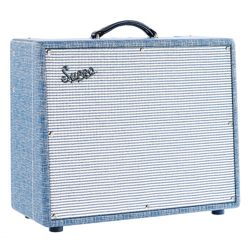 "<p>In stock and ready to ship at MorMusic</p> <p>Seen it cheaper elsewhere? We'll aim to match or beat any like for like price!</p> <p>The SuproS6420+ Thunderbolt is a 50th anniversary reissue of the 1964 Supro Thunderbolt 1x15 tube amplifier.&nbsp; Staying true to its vintage spec with its cathode biased 6L6 output section, the S6420+ produces 35, 45, or 65watts of authentic rock 'n' roll tone through a custom designed 15"" Supro TB15 speaker at an attractive price.&nbsp; The switchable rectifier allows switching between 35w, 45w, and 65w, for higher headroom, and more versatility.&nbsp; Finished in a vintage styled'Blue Rhino Hide' tolex</p>"