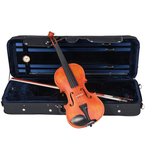 <p>The 'Symphonique' will astonish the most accomplished player with its focussed tone, beauty and breadth of ability.</p> <p>Inspired by the masters, the Antoni 'Symphonique' violin brings together Atelier construction methods, premium tonewoods, and a level of fit and finish of a very high standard.</p> <p>With the 'Symphonique', we wanted to provide features and feel usually only found on esoteric professional masterclass instruments.</p> <p>In achieving this goal, we bring you an instrument which we truly believe will inspire you.</p> <p>Antoni 'Symphonique' Violin Outfit</p> <ul> <li>Selected hand carved solid flame maple back</li> <li>Selected hand carved solid flame maple ribs</li> <li>Double inlaid purfling</li> <li>Selected hand carved close grain spruce table</li> <li>Selected solid hand carved flame maple neck and scroll</li> <li>Antique French-style satin oil rubbed finish</li> <li>Ebony fingerboard and nut</li> <li>Ebony traditional pattern tuning pegs with inlaid brass and mother-of-pearl Parisian eye</li> <li>Ebony tailpiece with four gilt adjustable fine tuners and inlaid decorative brass and mother-of-pearl Parisian eye</li> <li>Ebony endpin with inlaid decorative brass and mother-of-pearl Perisian eye</li> <li>Ebony Guarneri pattern chinrest with gilt clip</li> <li>Selected hard maple fitted bridge</li> <li>Octagonal, premium wood bow with white tip, nickel silver winding and leather lapped, fitted with natural white horse hair</li> <li>Abalone mounted ebony frog with nickel silver ferrule and heel, nickel silver and mother-of-pearl Parisian eye and inlaid screw</li> <li>Luxurious, professional oblong 'nil gravity' hard foam case, with integral canvas cover incorporating large external music pocket, double zip closure with additional weather proof flap, and shoulder straps</li> <li>Midnight blue, short pile plush lined interior, two large, covered accessory pockets, twin bow holders, and integral hygrometer and luxury overlay cloth</li> <li>Rosin c