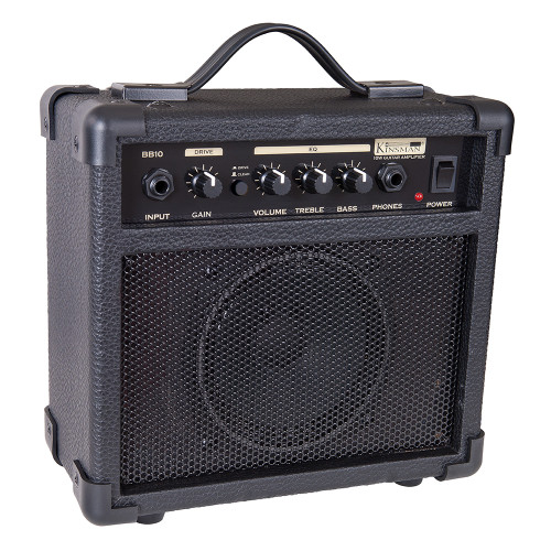 """<p>In stock and ready to ship at MorMusic</p><p>Seen it cheaper elsewhere? We'll aim to match or beat any like for like price!</p><div>A great sounding, feature-laden amp ideal for the budding guitar hero! The 10-watt BB10 is great for all kinds of music, with a versatile Bass/Treble EQ that allows you to mould your sound to your heart's content, and a gain control that will take you from bright cleans to crushing distortion. Best of all, you can plug your headphones in for silent practice when the adults have had enough!</div><div><br></div><div>Input:</div><div>This is a standard 1/4"""" input jack for plugging in your instrument. It is intended for guitars but will accept other instruments as well.</div><div><br></div><div>Gain:</div><div>Adjust this clockwise to increase the amount of distortion you add to the overdrive signal. Used in the lower ranges of the control, you get a less distorted sound, a åÔbluesyåÕ tone. As you increase the gain, you add tremendous amounts of distortion to the signal for a harder edged åÔcrunchåÕ tone.</div><div><br></div><div>Drive/Clean:</div><div>Push this little button to get classical overdrive or normal clean guitar tones.</div><div><br></div><div>Volume:</div><div>The output volume control for the entire amplifier.</div><div><br></div><div>Treble:</div><div>Adds extra treble to the bass tone for additional åÔbiteåÕ and attack. Too much will give an overly abrasive sound.</div><div><br></div><div>Bass:</div><div>Adds extra bottom end for a rounder, deeper and smoother bass tone.</div><div><br></div><div>Phone:</div><div>A 1/4"""" jack for plugging in headphones creating a pseudo-stereo sound. Select sound level with the volume control. It will automatically disconnect the internal speaker when plugged in to allow quiet practising.</div><div><br></div><div>Power:</div><div>This switch turns the power to the amp on and off.</div><div><br></div><div>Size:</div><div>23.5cm (H) x 24.5cm (W) x 12.4cm (D)</div><div><br></div><div>Weight:<"""