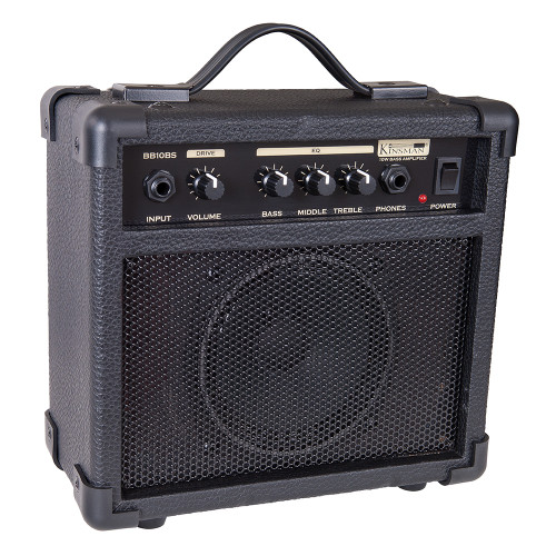 <p>In stock and ready to ship at MorMusic</p><p>Seen it cheaper elsewhere? We'll aim to match or beat any like for like price!</p><div>Neat and compact, the 10-watt Kinsman BB10BS bass amp features a robust speaker cabinet with closed-back construction for brilliant bass performance.&nbsp;</div><div><br></div><div>The BB10BS's straightforward control panel quickly allows you to set up a cracking tone with its 3-band rotary control EQ system, and there's also a headphone input for that all-important silent practice.</div><div><br></div><div>Input:</div><div>1/4åÓ jack input. Designed for bass but will accept other instruments.</div><div><br></div><div>Volume:</div><div>Master output volume control for speaker or headphone output.</div><div><br></div><div>Equalisation Bass:</div><div>Adds extra bottom end for a rounder, deeper and smoother bass tone.</div><div><br></div><div>Middle:</div><div>Use this control carefully to get different kinds of bass tone. Less middle gives a more defined bass and treble and a clearer bass tone. Excessive amounts of middle gives a less distinct, nasal tone.</div><div><br></div><div>Treble:</div><div>Adds extra treble to the bass tone for additional åÔbiteåÕ and attack. Too much will give an overly abrasive sound.</div><div><br></div><div>Phone:</div><div>Accepts normal 1/4åÓ headphone jack plug for silent &nbsp;practice. Automatically cuts out the speaker.</div><div><br></div><div>Power:</div><div>Main on/off power switch.</div><div><br></div><div>Size:</div><div>23.5cm (H) x 24.5cm (W) x 12.4cm (D)</div><div><br></div><div>Weight:</div><div>2.95 Kg</div>