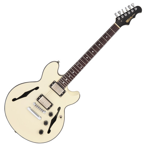 """<p>In stock and ready to ship at MorMusic</p><p>Seen it cheaper elsewhere? We'll aim to match or beat any like for like price!</p><p>FRET KING BLACK LABEL ELISE - VINTAGE WHITE</p> <div>ELISE - Vintage White</div> <div>&nbsp;</div> <div>Inspired by a long heritage of semi-acoustic excellence, the Elise is an incredibly light, yet exceptionally resonant guitar with superior sonic performance and versatility.&nbsp; <p><span>Carved from a solid mahogany blank, the Elise body has acoustically tuned chambers, a full length centre block, and double carved solid maple cap to create a vibrant semi acoustic body.&nbsp;</span></p> <p><span>The slick mahogany neck, with deluxe rosewood fingerboard, employs the Fret-King long-tenon neck joint, which mates precisely to the body underneath the neck pickup, forming a rigid fixed bond between neck and body, maximising the retention and transmission of the Elise's fundamental acoustic properties.&nbsp;</span></p> <p><span>Fret-King WVC double coils give the Elise a voice with unassailable authenticity, definition and the power required for everything from mellow jazz to full bore blues. Fitted with the Fret-King Vari-coil, the WVCs can be progressively wound back to emulate a P90, or produce sparkling traditional single coil tone. The Elise sounds just like it looks, and then produces voicings never associated with this style of guitar, but which would be at home on Ocean Boulevard or a Nashville `Honkey Tonk'.</span></p> <p>&nbsp;</p> </div> <p>&nbsp;</p> <table id=""""product-attribute-specs-table"""" class=""""data-table""""> <tbody> <tr class=""""first odd""""><th class=""""label"""">Colour</th> <td class=""""data last"""">Vintage White</td> </tr> <tr class=""""even""""><th class=""""label"""">Body</th> <td class=""""data last"""">Solid mahogany chambered body, solid maple cap</td> </tr> <tr class=""""odd""""><th class=""""label"""">Neck</th> <td class=""""data last"""">Mahogany</td> </tr> <tr class=""""even""""><th class=""""label"""">Fingerboard Radius</th> <td class=""""data last"""">12""""</td> </tr> <tr class"""