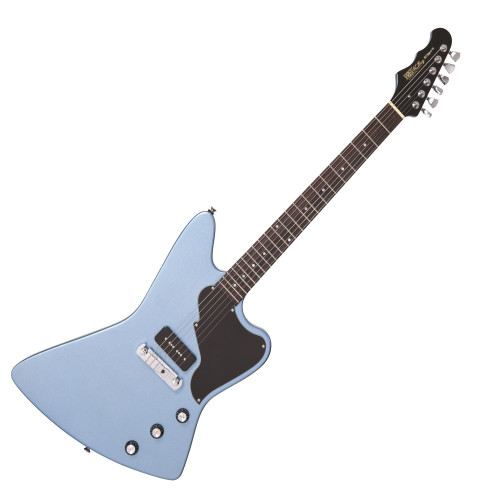 """<p>In stock and ready to ship at MorMusic</p><p>Seen it cheaper elsewhere? We'll aim to match or beat any like for like price!</p><p>FRET KING BLACK LABEL ESPRIT I - GUN HILL BLUE</p> <p><span>Iconic styling, oh-so-familiar, yet somehow different, best describes the Fret-King Black Label Esprit.</span></p> <p><span>The distinctive reversed six-a-side in-line peghead and striking asymmetric body with signature pickguard all add up to a statement of style with individuality and attitude to spare.</span></p> <p><span>The single pickup Esprit I is a stripped down, no-nonsense rock 'n' roll machine.</span></p> <p><span>The long tenon set-neck construction, combining a three-piece centre block agathis body with fast-playing maple necky with rosewood fingerboard, creates a solid platform for you to build your Esprit I's tone.</span></p> <p><span>The reverse string tension and single Fret-King WP90SK stacked pickup mounted hard up against the chromed aluminium GTB Lite wrapover tailpiece bridge let the Esprit I sing, scream, wail, moan and roar! Tamed with master volume, mutated with master tone and nuanced with the Fret-King Vari-coil control, this is a guitar that has subtlety as well as shredding power; the Esprit I just begs to be thrashed!</span></p> <table id=""""product-attribute-specs-table"""" class=""""data-table""""> <tbody> <tr class=""""first odd""""><th class=""""label"""">Colour</th> <td class=""""data last"""">Gun Hill Blue</td> </tr> <tr class=""""even""""><th class=""""label"""">Body</th> <td class=""""data last"""">Agathis</td> </tr> <tr class=""""odd""""><th class=""""label"""">Scratchplate</th> <td class=""""data last"""">Black</td> </tr> <tr class=""""even""""><th class=""""label"""">Neck</th> <td class=""""data last"""">Maple &ndash; Set neck</td> </tr> <tr class=""""odd""""><th class=""""label"""">Frets</th> <td class=""""data last"""">22 medium jumbo</td> </tr> <tr class=""""even""""><th class=""""label"""">Top Nut</th> <td class=""""data last"""">Graphite</td> </tr> <tr class=""""odd""""><th class=""""label"""">Nut Width</th> <td class=""""data last"""">1.67""""/ 42.5mm nominal</td> </t"""