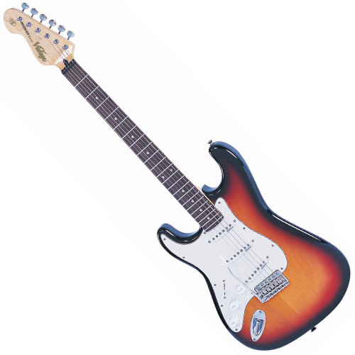 """<p>In stock and ready to ship at MorMusic</p><p>Seen it cheaper elsewhere? We'll aim to match or beat any like for like price!</p><p>VINTAGE LEFT HAND GUITAR- SUNBURST</p> <p><span>The Vintage&reg; V6 Series features the new Wilkinson&reg; WVC original specification vibrato featuring authentic bent steel saddles for that classic sparkle and tone, precision machined pivot points for total """"return to pitch"""" accuracy, and a stagger drilled sustain block to prevent string hang-up.</span><br /><br /><span>A vintage bend, push-in arm completes this definitive vibrato system.</span><br /><br /><span>Attention to authentic tone continues, with the use of a matched, calibrated set of Wilkinson&reg; Alnico single coil pickups; using a reverse wound, reverse polarity middle pickup for clarity and dynamics and featuring staggered edge, staggered pole pieces for focus and definition.</span><br /><br /><span>Featuring one volume and two tone controls, the five way lever switch and control circuitry are configured for maximum tone, evenness of response and output for supreme versatility.</span><br /><br /><span>Comfort contours and radiused edges give the body a familiarity whilst the vintage profile neck and 10"""" radius 22 fret, overhung fingerboard give an instantly familiar and comfortable feel.</span><br /><br /><span>Wilkinson&reg; Vintage tuners featuring the patent pending E-Z-LOKG&auml;&oacute; string lock system, quick and easy to use, with no tools, provides for hugely enhanced tuning stability, with super quick string change times.</span><br /><br /><span>Staggered string posts, providing the correct break angles across the top nut, ensure accurate tuning, correct string tensions for enhanced feel and aid tuning stability.</span></p> <p class=""""related-similar"""">VINTAGE VINTAGE LV6 LEFT HANDED FEATURES:</p> <ul> <li>Body: Eastern Poplar</li> <li>Neck: Hard Maple Bolt On</li> <li>Scale: 25.5""""/648mm</li> <li>Frets: 22</li> <li>Neck Inlays: Pearloid Dot</li> <li>Tuners: Wilki"""