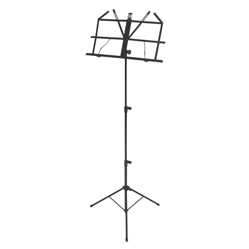 <p>In stock and ready to ship at MorMusic</p><p>Seen it cheaper elsewhere? We'll aim to match or beat any like for like price!</p>Music Stand&nbsp;<div><br></div><div>50 x 22cm hinged desk, 2cm deep shelf.&nbsp;<br>Adjustable desk tilt, Music retainers, Three tier, Large thumb screws,  High-density</div><div>ABS section joints, Tubular tripod base, Non-slip feet.&nbsp;</div><div>Max. height: 112cm to desk Min. height: 46cm to desk Black Carry bag included<br><br></div>