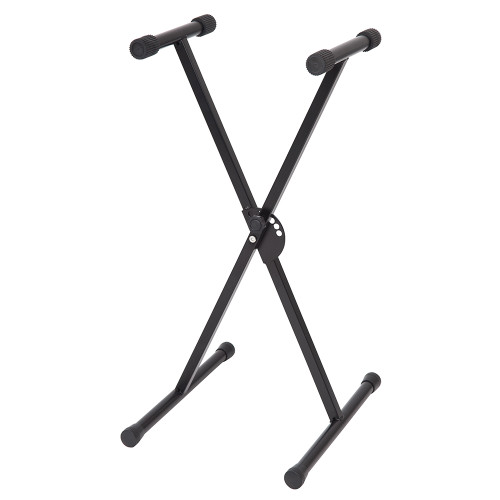 <p>In stock and ready to ship at MorMusic</p><p>Seen it cheaper elsewhere? We'll aim to match or beat any like for like price!</p>Keyboard Stand&nbsp;<div>Seated/Low Level Single frame 'XåÕ style black enamelled stand suitable for the seated or younger player.&nbsp;</div><div>The stand is easily adjustable to five different height settings via a quick release mechanism and has  rubber keyboard supports and feet.</div><div>Folds down flat for easy transportation and storage.&nbsp;</div><div>Height: Min.51cm Max.77cm</div>