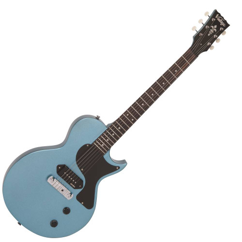 <p>VINTAGE V120 ELECTRIC GUITAR- SINGLE CUT - GUN HILL BLUE</p> <p>This classic, old school looking electric guitar is the Vintage V120 in a gorgeous and very sparkly gun hill blue.&nbsp; It's a simple, great playing guitar that's blast from the past and brings to life that vintage tone, classic feels and a look to impress, all for such a great price!&nbsp; If you like a great sound combined with excellent playability and you love to get a lot of bang for your buck then this guitar should be in your short list!&nbsp; The P90 style pickup gives a that vintage, wirey tone which sounds so good when played with a bit of crunch and overdrive!&nbsp; The controls couldn't be more simple either, with just one volume and one tone knob to control your sound it's pretty much plug and play!&nbsp; Whether you want to play Blues, Rock, Country or any style it's a versatile instrument that's ready to rock!&nbsp; The lightweight body and single cutaway design make it extremely comfortable to hold and easy to play, even up to the 22nd fret!&nbsp; It's a guitar that's ideal for beginners whilst still being good enough for intermediate players!&nbsp; It's going to last a decent amount of time before an upgrade is due!&nbsp; For all the tech specs on this instrument check out the specifications tab.</p>