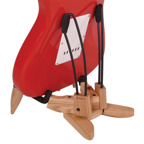 Wooden 'A' Frame Electric Guitar Stand&nbsp;<div><br></div><div>Sturdy and elaborate folding wooden guitar stand.&nbsp;</div><div>Features foam padded cradle arms and metal body support frame arm extensions,&nbsp;</div><div>with stabilising fold-out wooden feet.</div>
