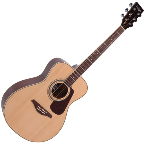 """<p>In stock and ready to ship at MorMusic</p><p>Seen it cheaper elsewhere? We'll aim to match or beat any like for like price!</p><p>VINTAGE FOLK GUITAR- SOLID TOP- NATURAL</p> <p>The Guitar Magazine awarded the V300 &lsquo;Best Acoustic Guitar Under &pound;1000' in their end of year round up.&nbsp; &lsquo;This little concert acoustic is stonkingly good,' continued TGM, adding, &lsquo;A comfortable, fast playing neck, plus good dynamics and volume from the parlour-esque body.&nbsp; At this price, go buy.&nbsp; Every home should have one.'</p> <table id=""""product-attribute-specs-table"""" class=""""data-table""""> <tbody> <tr class=""""first odd""""><th class=""""label"""">Colour</th> <td class=""""data last"""">Natural</td> </tr> <tr class=""""even""""><th class=""""label"""">Back</th> <td class=""""data last"""">Eastern Mahogany</td> </tr> <tr class=""""odd""""><th class=""""label"""">Sides</th> <td class=""""data last"""">Eastern Mahogany</td> </tr> <tr class=""""even""""><th class=""""label"""">Binding</th> <td class=""""data last"""">Multi &ndash; White/ Black</td> </tr> <tr class=""""odd""""><th class=""""label"""">Neck</th> <td class=""""data last"""">Eastern Mahogany</td> </tr> <tr class=""""even""""><th class=""""label"""">Frets</th> <td class=""""data last"""">20</td> </tr> <tr class=""""odd""""><th class=""""label"""">Nut Width</th> <td class=""""data last"""">42.5mm</td> </tr> <tr class=""""even""""><th class=""""label"""">Bridge</th> <td class=""""data last"""">Rosewood</td> </tr> <tr class=""""odd""""><th class=""""label"""">Machine Heads</th> <td class=""""data last"""">Chrome</td> </tr> <tr class=""""even""""><th class=""""label"""">Hardware Colour</th> <td class=""""data last"""">Chrome</td> </tr> <tr class=""""last odd""""><th class=""""label"""">Strings</th> <td class=""""data last"""">High Quality USA Made</td> </tr> </tbody> </table>"""