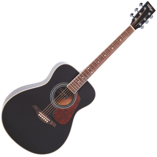 <p>In stock and ready to ship at MorMusic</p><p>Seen it cheaper elsewhere? We'll aim to match or beat any like for like price!</p><p>VINTAGE FOLK GUITAR- SOLID TOP- BLACK</p> <p>The Vintage V300 acoustic guitar in black - voted 'Best acoustic guitar under 1000' by Guitar Magazine.&nbsp; 'This little concert acoustic is stonkingly good, continued TGM, adding, A comfortable, fast playing neck, plus good dynamics and volume from the parlour-esque body.&nbsp; At this price, go buy.&nbsp; Every home should have one.'</p>