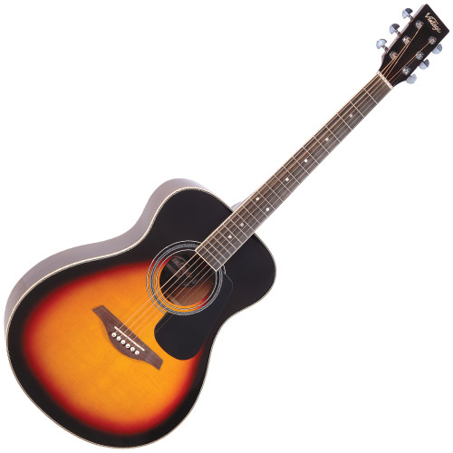 """<p>In stock and ready to ship at MorMusic</p><p>Seen it cheaper elsewhere? We'll aim to match or beat any like for like price!</p><p>VINTAGE FOLK GUITAR- SOLID TOP- VINTAGE SUNBURST</p> <p>The Vintage V300 acoustic guitar in Vintage Sunburst - voted 'Best acoustic guitar under 1000' by Guitar Magazine.&nbsp; """"This little concert acoustic is stonkingly good"""", continued TGM, adding, """"A comfortable, fast playing neck, plus good dynamics and volume from the parlour-esque body.&nbsp; At this price, go buy.&nbsp; Every home should have one.""""</p>"""