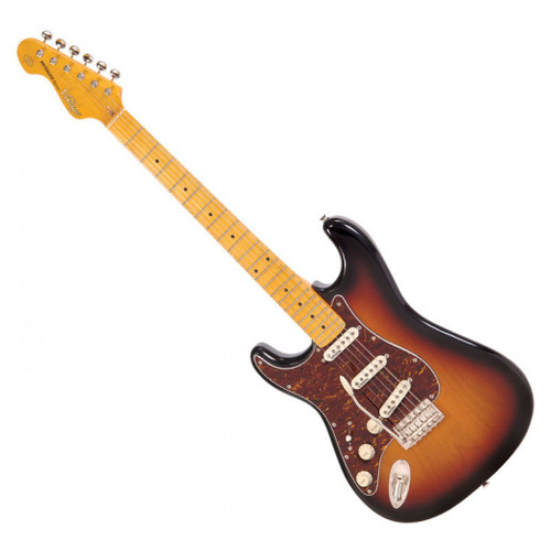 <p>In stock and ready to ship at MorMusic</p><p>Seen it cheaper elsewhere? We'll aim to match or beat any like for like price!</p><p>VINTAGE LEFT HANDED GUITAR- MAPLE FINGERBOARD - SUNSET SUNBURST</p> <p>The Vintage V6 Series offers an extraordinarily high level of specification, with many built-in custom shop level features. These include the revered Wilkinson WVC original specification vibrato featuring authentic bent steel saddles for that classic sparkle and tone; precision machined pivot points for total &lsquo;return to pitch&rsquo; accuracy and a stagger-drilled sustain block to prevent string hang-up. An adjustable, &lsquo;vintage bend&rsquo; push-in arm completes this definitive vibrato system.</p> <p>Attention to authentic tone continues with the use of a matched and calibrated set of Wilkinson Alnico V single coil pickups, using a reverse wound/reverse polarity middle pickup for clarity and dynamics and feature true vintage-style chamfered edge polepieces. With one volume and two tone controls, the 5-way lever switch and control circuitry are configured for maximum tone, evenness of response and output for supreme versatility.</p>