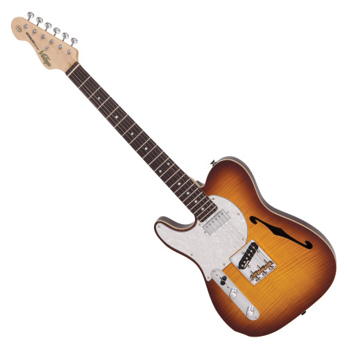 """<p>In stock and ready to ship at MorMusic</p><p>Seen it cheaper elsewhere? We'll aim to match or beat any like for like price!</p><p>VINTAGE LEFT HANDED V72 TL DELUXE - FLAME TOBACCO BURST</p> <p><strong>With a wonderful blend of &lsquo;old&rsquo; and &lsquo;new era&rsquo; the V72FTB features a neck mounted Wilkinson WDG mini double coil pickup, which produces a focussed broad spectrum tone, allied to the classic voice of a Wilkinson Alnico V WVTB housed ina Wilkinson WTB bridge, with its cold rolled steel &lsquo;ashtray&rsquo; base and intonated brass saddles.</strong></p> <table id=""""product-attribute-specs-table"""" class=""""data-table""""> <tbody> <tr class=""""first odd""""><th class=""""label"""">Colour</th> <td class=""""data last"""">Flame Tobacco Burst</td> </tr> <tr class=""""even""""><th class=""""label"""">Body</th> <td class=""""data last"""">American Alder w/Acoustic Chambers, Book Matched Flame Maple Veneer top</td> </tr> <tr class=""""odd""""><th class=""""label"""">Neck</th> <td class=""""data last"""">One Piece Hard Maple &ndash; Bolt-on</td> </tr> <tr class=""""even""""><th class=""""label"""">Frets</th> <td class=""""data last"""">22 Medium</td> </tr> <tr class=""""odd""""><th class=""""label"""">Bridge</th> <td class=""""data last"""">Wilkinson&reg; WTB intonatable</td> </tr> <tr class=""""even""""><th class=""""label"""">Machine Heads</th> <td class=""""data last"""">Wilkinson&reg; WJ55</td> </tr> <tr class=""""odd""""><th class=""""label"""">Pickups</th> <td class=""""data last"""">Wilkinson&reg; 1 WDG (N), 1 WTB (B)</td> </tr> <tr class=""""last even""""><th class=""""label"""">Controls</th> <td class=""""data last"""">Volume/ Tone/ 3-Way Lever</td> </tr> </tbody> </table>"""