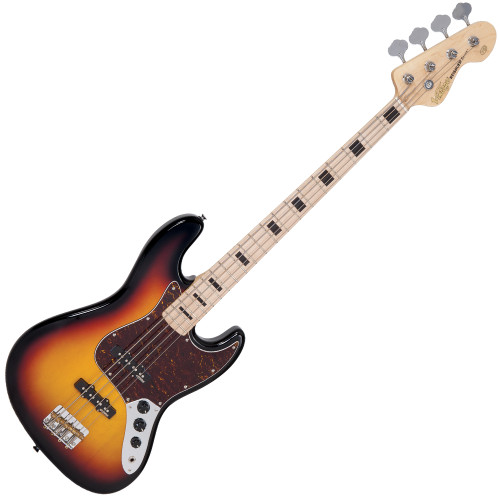 "<p>In stock and ready to ship at MorMusic</p><p>Seen it cheaper elsewhere? We'll aim to match or beat any like for like price!</p><p>VINTAGE BASS - MAPLE BOARD - SUNSET SUNBURST</p> <p>Vintage VJ74MSSB, 4-string electric bass, reissued series,&nbsp; poplar body, bolt-on maple neck, maple fretboard with&nbsp; black block inlays, 20 frets, 34"" long scale, 1x Wilkinson&nbsp; WJB00 (middle) &amp; 1x WJB800 (bridge) pickups, 2x volume&nbsp; control, 1x tone control, chrome hardware, Wilkinson&nbsp; WJBL200 tuners, finish: sunset sunburst</p>"