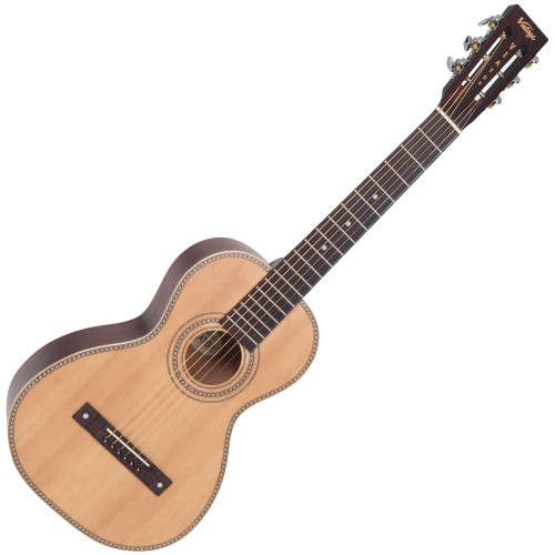 <p>In stock and ready to ship at MorMusic</p><p>Seen it cheaper elsewhere? We'll aim to match or beat any like for like price!</p><p>VINTAGE VIATOR TRAVEL GUITAR AND BAG- BY PAUL BRETT</p> <p>This guitar will suit both beginners and professionals who want to have a great sounding and affordable guitar that they can fit into small spaces for travelling convenience.&nbsp; My inspiration for this guitar came from the early 20th century style of guitars and the sound the Viator produces both in fingerstyle and strumming modes is very much reminiscent of that era.&nbsp; I have tried most styles on it, from blues, jazz, plectrum and picking through to classical, folk and open tunings &ndash; and yes, with lighter strings on it will play beautifully in Terz tuning.</p>